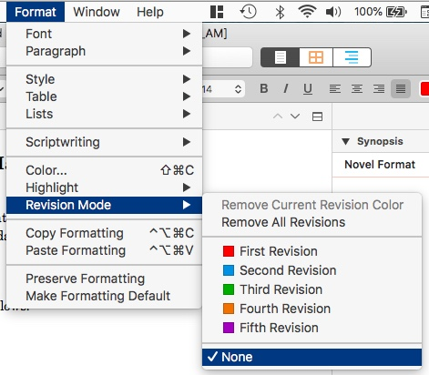 Exit revision mode - Revision Colours in Scrivener
