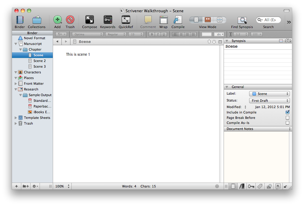 View modes - Scrivener View Modes