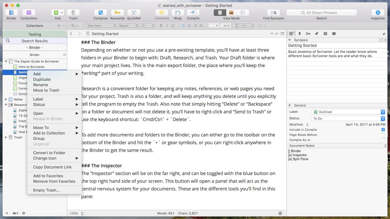 View keywords and inspector as floating windows - Distraction-free Writing in Scrivener