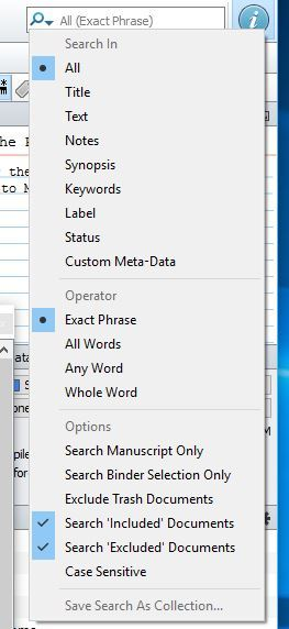 Save Search As Collection - Scrivener Save Search As Collection