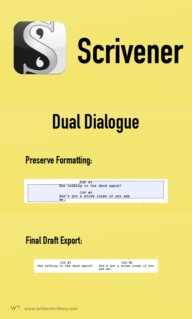 Dual dialogue Final Draft export - Formatting Dual Dialogue in Scrivener