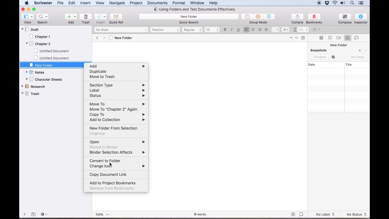 Use different compile settings for files and folders - The Difference Between Files and Folders in Scrivener