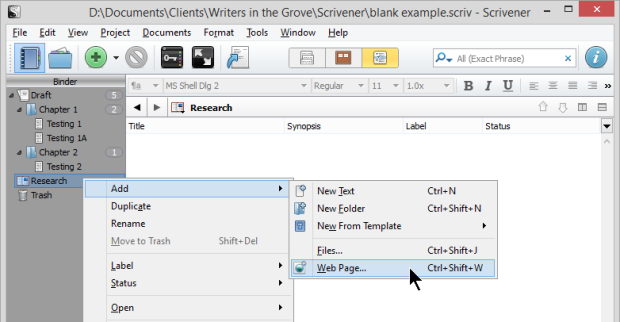 Default view mode for folders with content and sub documents - The Difference Between Files and Folders in Scrivener