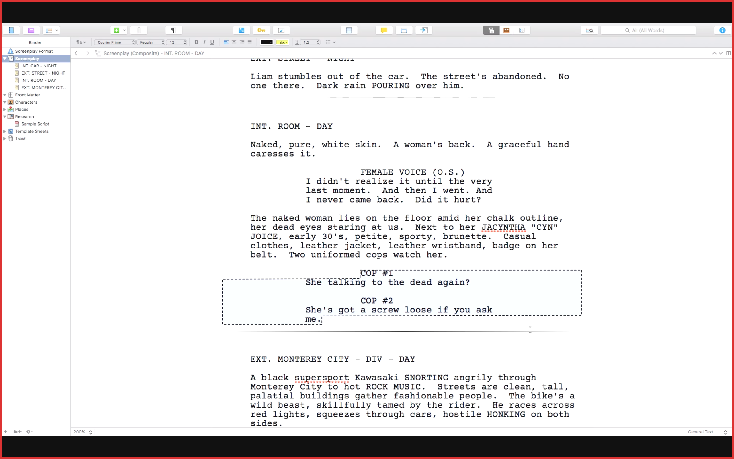 Scrivener draws a box around the dual dialogue - Formatting Dual Dialogue in Scrivener
