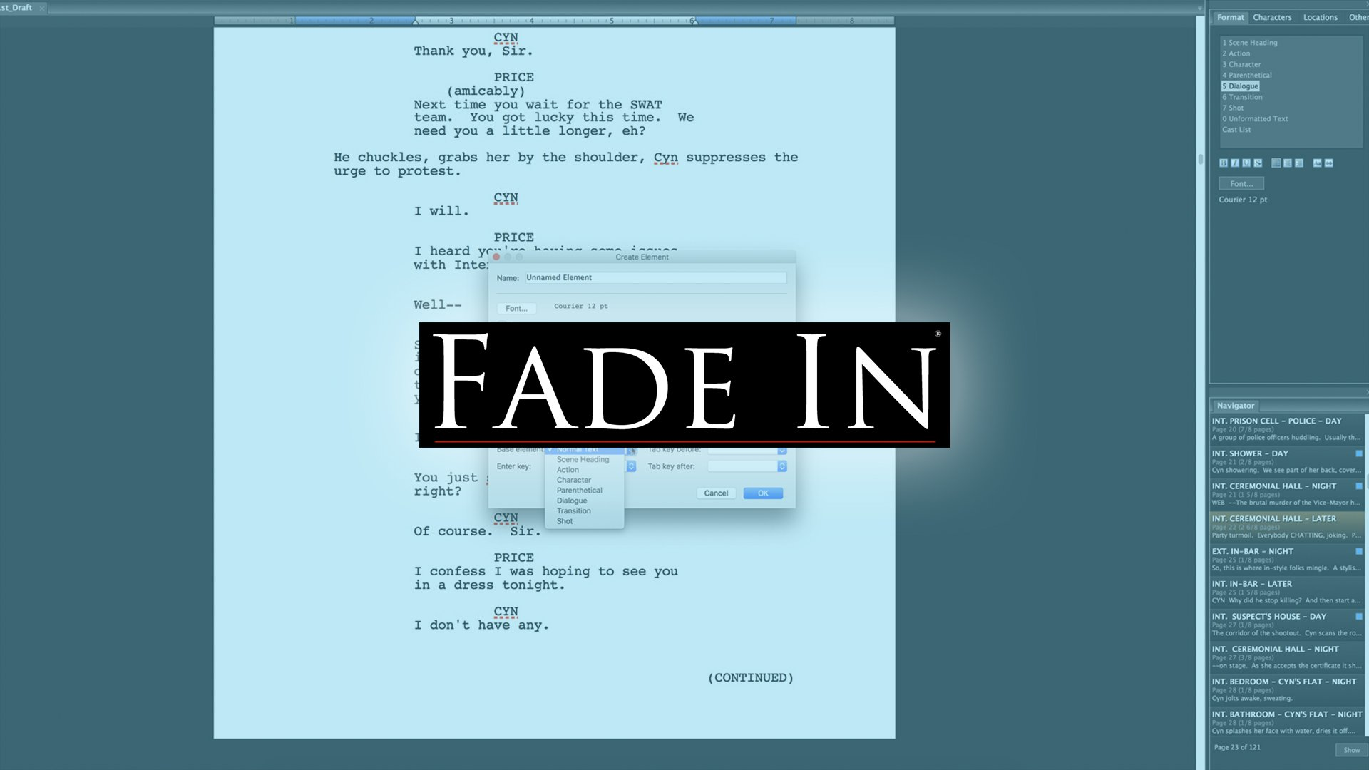 How to customize Element Styles in Fade In