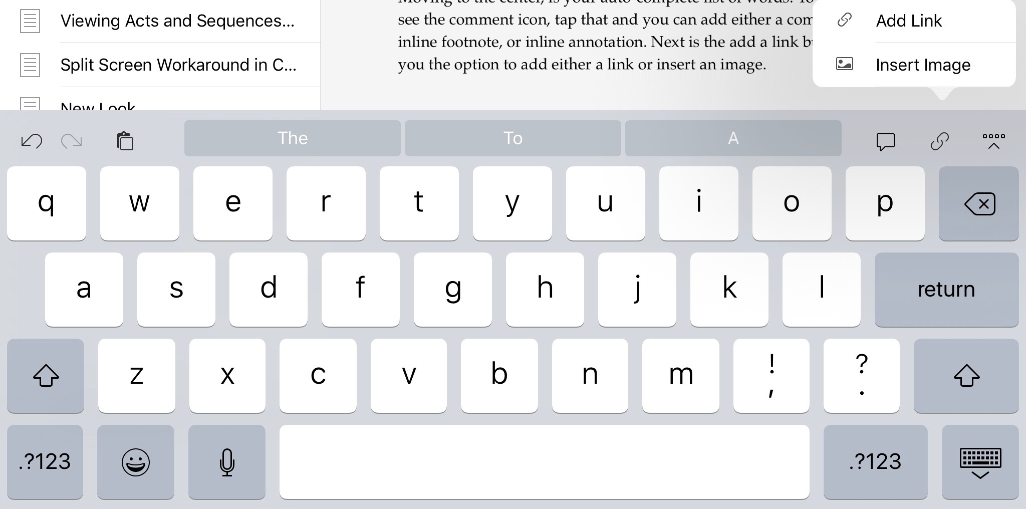 Activate keyboard row - Scrivener iOS: Keyboard Quick Access Buttons